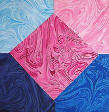 40 pk 5 inch Cotton Fabric squares Quilting Quilt Craft * Pink Blue Marble * 5-2