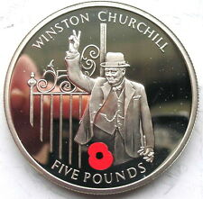 Gibraltar 2004 Winston Churchill 5 Pounds Silver Coin,Proof