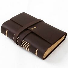 Ancicraft Leather Journal Diary with Strap A6 Blank Paper Small Plain Brown Gift