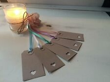 Kraft vintage wedding place cards - luggage tags gift - heart - Pastel ribbons