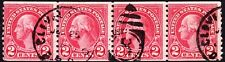 US  1929 - 2 Cents Carmine George Washington Coil Type II Issue #599A Used Strip