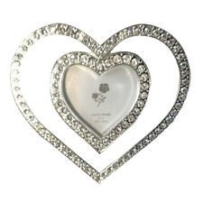 """4"""" x 4"""" double heart rhinestone Anniversary Wedding frame fits 2"""" x 2"""" picture"""