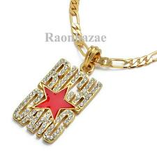 "HIP HOP GOLD RICH GANG LIL WAYNE PENDANT W 5mm 24"" FIGARO CHAIN NECKLACE K7253G"