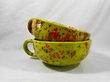 Arners Pottery Large Soup Bowl Mug Set of 2 Green Orange 1972 Vintage Ceramic