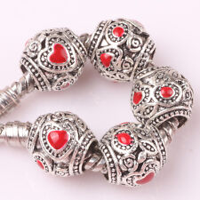 Fashion 10P silver love lampwork spacer beads fit Charm European Bracelet #W148
