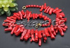 """S2049 22"""" 40mm Red Coral branch Round Bead Necklace"""