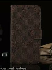 iPhone 6 Plus iPhone 6S Plus Classic Grid PU Leather Wallet Cover Case - Brown