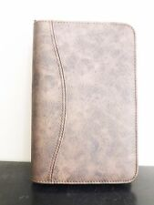 "Compact Day Timer Planner Binder Brown Faux Leather 1/2"" Rings w/ Inserts"