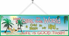 Not a Care in the World Beach Quote Sign with Hammock & Palm Trees PM130