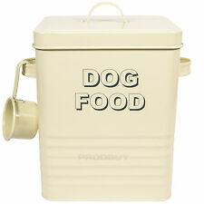 Vintage Cream Enamel Dog Pet Food Storage Container Scoop Biscuit Treat Canister