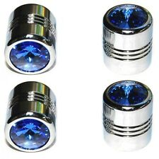 4 Chrome Blue Gem Tire Air Valve Stem Caps - Car Truck Hotrod ATV Wheels
