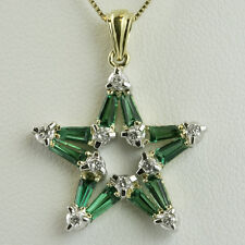 "EMERALD AND DIAMOND STAR PENDANT- includes 18"" Box Chain  - 14K YELLOW GOLD"