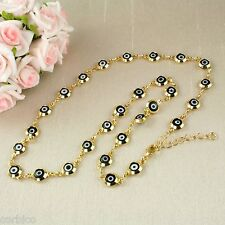 N1 Short 18K Gold Plated Black Enamel Evil Eye Lucky Charm Protector Necklace