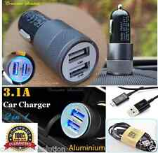 3.1A Dual USB Car Charger Alloy 2 Port Charging For Ipone 4 + Samsung Data Cable