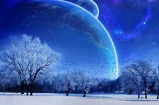 Framed Print - Giant Blue Planets Behind a Snowy Landscape (Picture Poster Art)