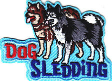 """DOG SLEDDING"" IRON ON EMBROIDERED PATCH - DOGS - SPORTS - WINTER - SLEDS"