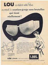 PUBLICITE ADVERTISING 054 1956 LOU soutien gorge sans bretelles