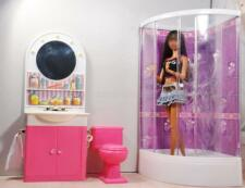 Dollhouse Bathroom Furniture Shower Closestool Mirror Sink for Barbie Doll