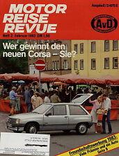 Motor Reise Revue 2 1983 Kadett 1,6 D VW Golf GTD Peugeot 305 GLD Lancia Prisma
