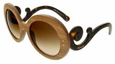 NEW $450 AUTH PRADA BAROQUE ROUND WOOD NUT CANALETTO SUNGLASSES SPR 27R - ITALY