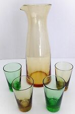 Amber Hand Blown Bubble Glass Carafe and 4 Amber and Green Glasses