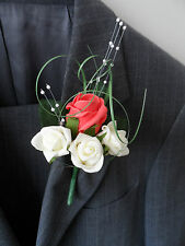 6 Coral & Ivory Rose Corsage Buttonhole Wedding Flowers Artificial