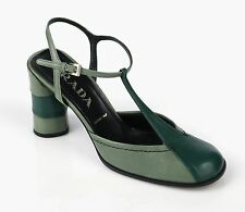 PRADA 1920-1940's MARY JANE GREEN LEATHER T-STRAP PUMPS HEELS SHOES SZ 36.5