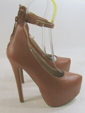 "Shiekh's TAN  6""Stiletto high heel 2""platform ankle strap sexy shoes SIZE   8"