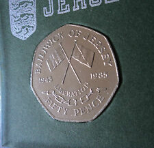 1985 Jersey Liberation of Channel Islands WWII 50p Coin (BU) Set in Display Case