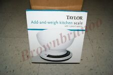 Taylor Add and Weigh Kitchen Mechanical Scale 11 lb Capacity w/ Removable Bowl