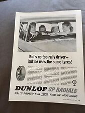 "VINTAGE 1960s ""DUNLOP SP RADIALS"" TYRES CAR ORIGINAL ADVERT"