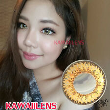 Contact Lenses GEO Color Soft Big Eye Cosplay UVProtection Lens Jelly Brown+Gold