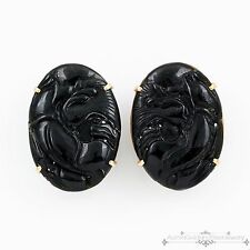 Antique Vintage Deco 14k Gold Chinese Carved Dragon Black Jade Jadeite Earrings!