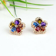 NEW Fashion Crystal 18K Gold Plated Multicolor Zircon Earrings Jewelry
