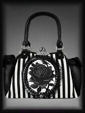 Victorian Handbag Granny bag black Rose Lace Gothic black-white Stripes