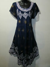 Dress Fits 1X 2X 3X 4X Plus Blue Gold Lace Sleeves A Shaped Sundress NWT 900A