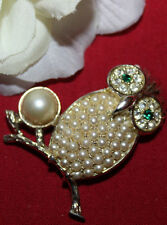 SARAH COVENTRY SIGNED OWL PIN WITH FAUX PEARLS AND RHINESTONES-EXCELLENT!!!