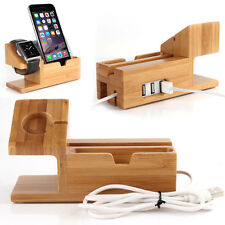 Bamboo Charger Charging Dock Station Holder Stand For Apple Watch iWatch iPhone7