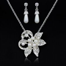 Clear White Pearl Crystal Flowers Pendant Chain Necklace Earrings Set Women Gift