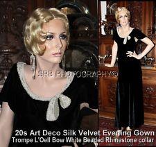"Antique Art Deco Silk Velvet ""Trompe L'Oell"" Bow Beads & Rhinestone Gown Dress"