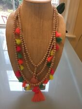NWOT Multi Color Rainbow Neons Tassel Long Bead Layering Necklace Anthropologie