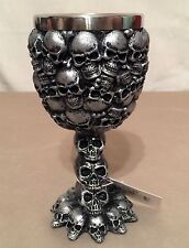 NEW SILVER SKELETON SKULLS OSSUARY CHALICE WINE GOBLET BEVRAGE CUP QUALITY 5""