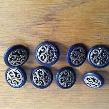 DARK BLUE & GOLD FILIGREE RARE BUTTONS X 8 NEW