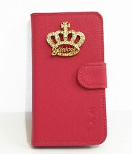 Bling Diamond Crystal Crown Flip Leather Card Wallet Cover Case For HTC Phones
