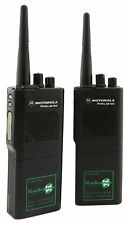 MOTOROLA GP300 VHF 5 WATT WALKIE-TALKIE TWO WAY RADIOS, CASES & SPEAKER MICS x 2
