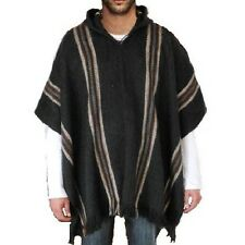 MEN'S jacket with hood PONCHO ALPACA wool cloak sweater coat Handmade Charcoal