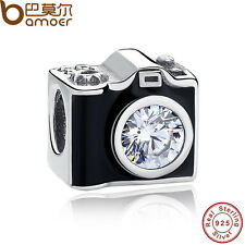 Authentic S925 Sterling Silver Charm Clear CZ Black Enamel Camera Fit Bracelet