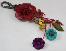 Red Flower Genuine Leather Keyring Keychain Purse Charm Women Bag Accessories