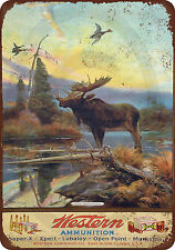 Western Ammunition and Moose Reproduction Metal Sign 8 x 12 vintage made USA