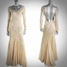 SUE WONG $629 Beige Embroidered Mesh Overlay Low-Back Mermaid Gown Sz 6 NEW